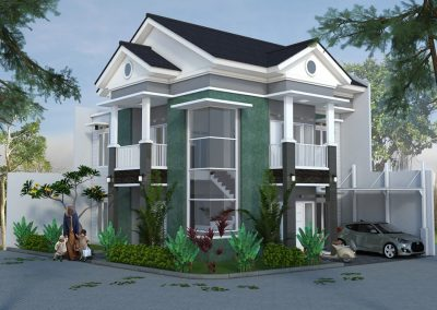 Desain Rumah Hook / Hoek Pak Febry di Pondok Ungu